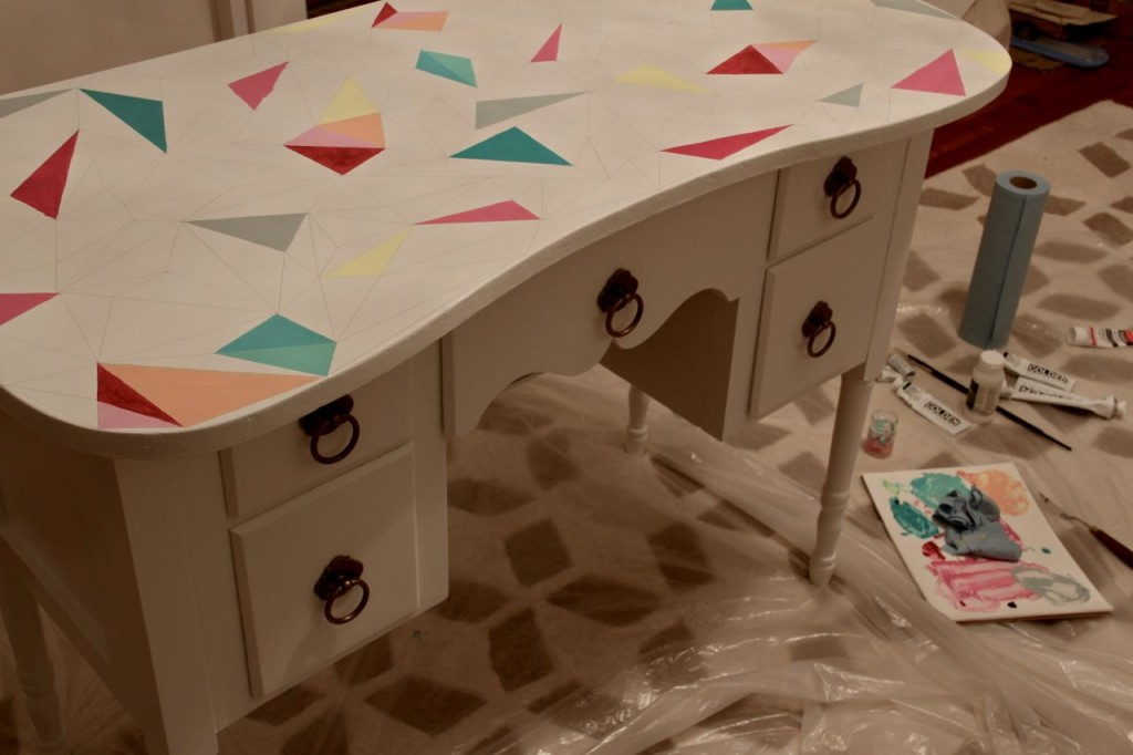 DURING: Each triangle was carefully hand painted with two coats of artist's paints that I custom mixed.