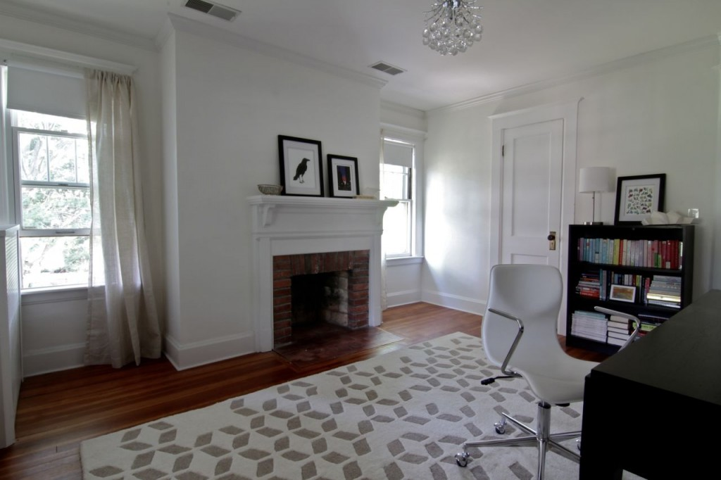 Bright and airy, this room is adjacent the upstairs porch, and the family bathroom across the hallway.