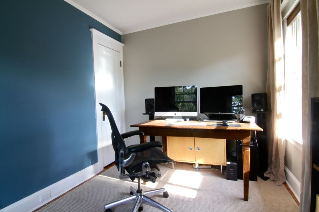 AFTER: Jeff's office, a combination of BM Thunder and Schooner, can happily accommodate his large desk (or a full-sized bed), and still have access to the closet.