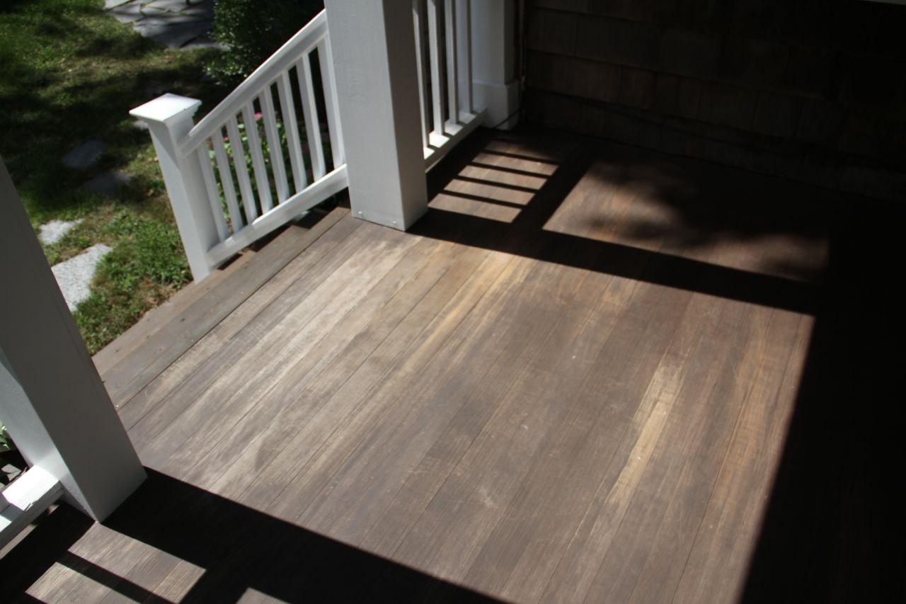 BEFORE: And this area was really, really faded due to the amount of sunlight it gets. This side of the porch faces south, and takes a bit of a beating from the elements (hence the need to re-do the stairs this past spring).