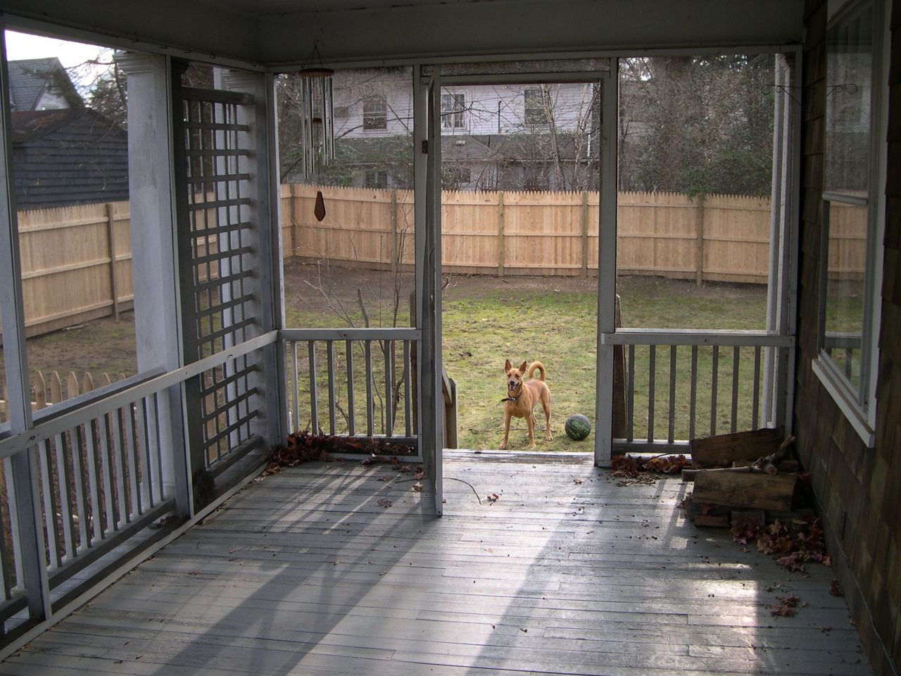 Major BEFORE: Back when we bought the house (and our sweet pup was just getting to know the place that would be her forever home) this was what the porch looked like. We've since had it rebuilt, re-supported, re-re-staired (yep, twice), and now re-stained. Phew.