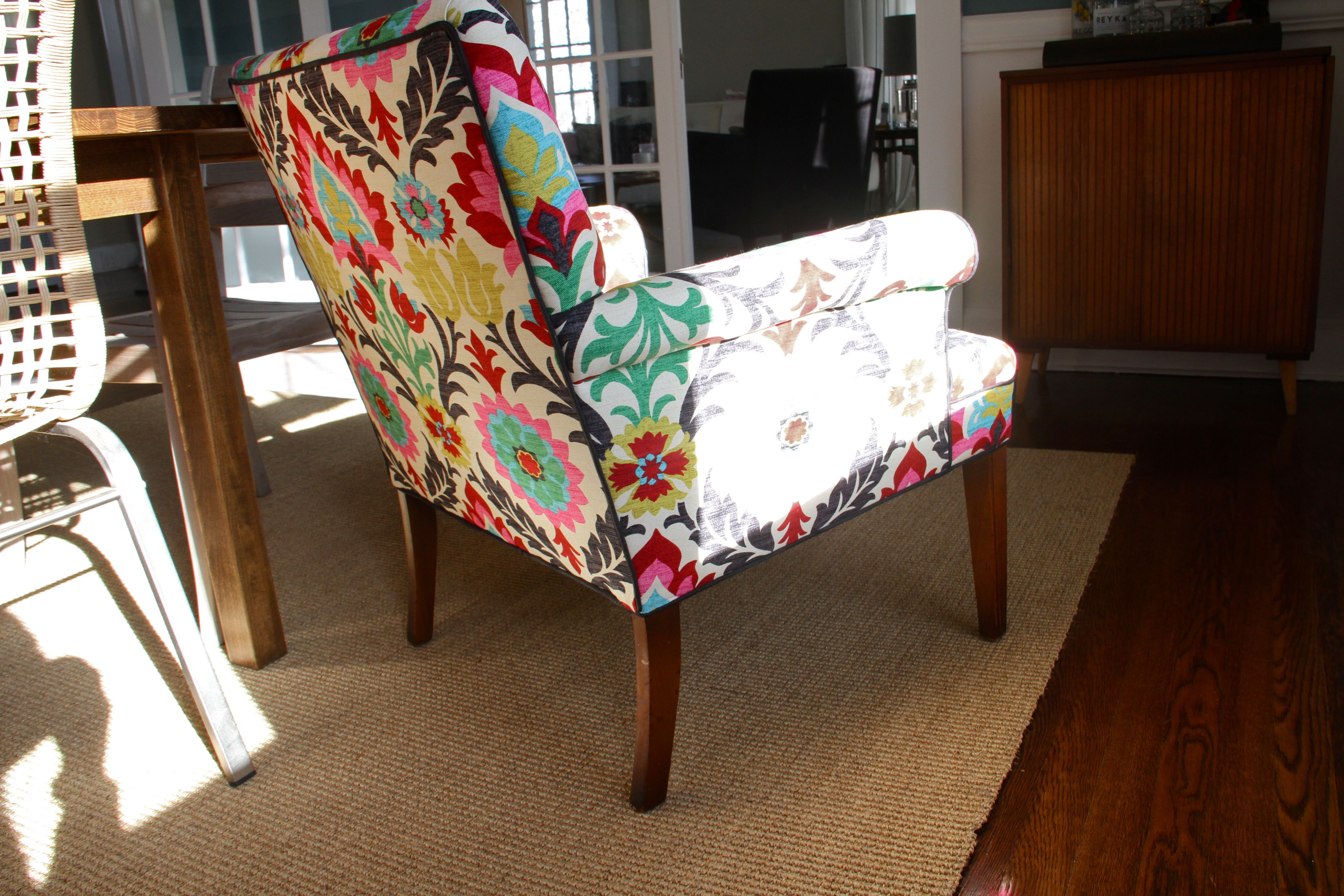 AFTER: The lively fabric makes the back of this chair exciting and stimulating. Plus, the flatness of the shape is balanced by the curves and boldness of the pattern.