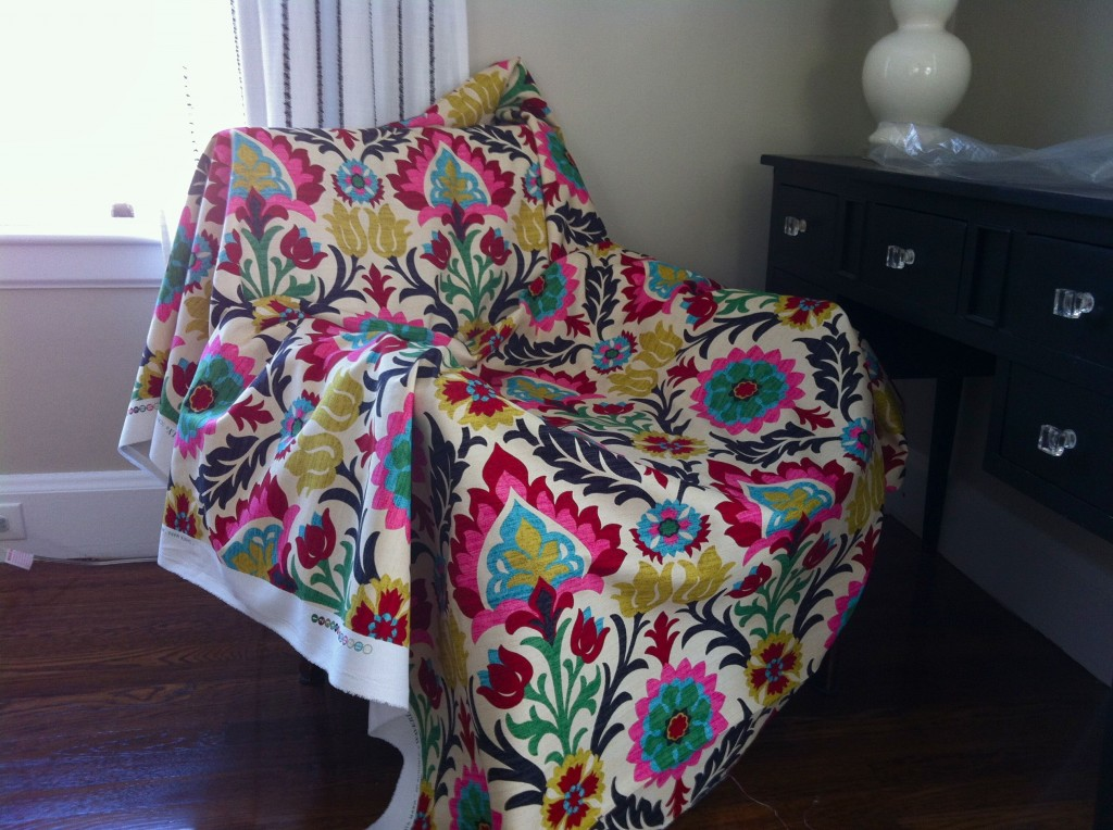 BEFORE: I draped the fabric on the chair when we got it to try to visualize the final product.