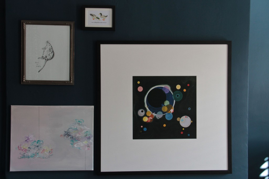 Our gallery wall. Ok, just the start. Original art on the left (by me), framed Kandisnky print, framed ducks who 'ain't triflin' with no stale ass bread.'