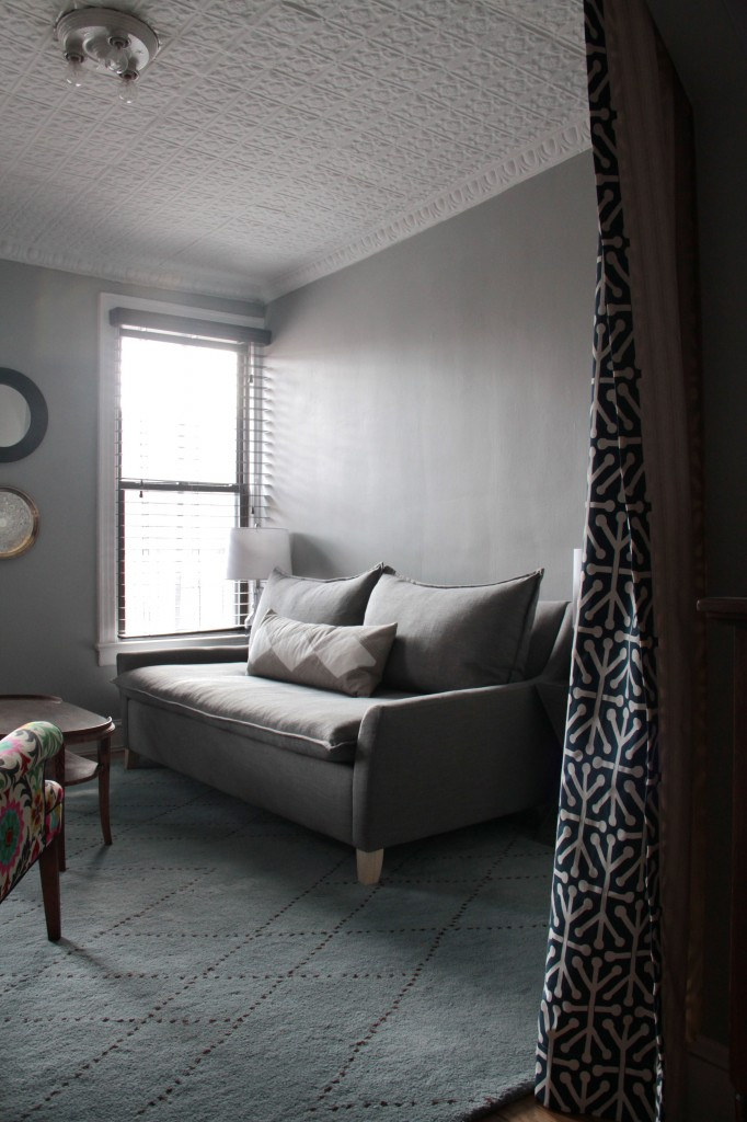 Sofa and pillow from West Elm. This was where my lil sis had to sleep. Trust me, none of us were too happy with the closeness. But, we're all still alive, so that's what counts!