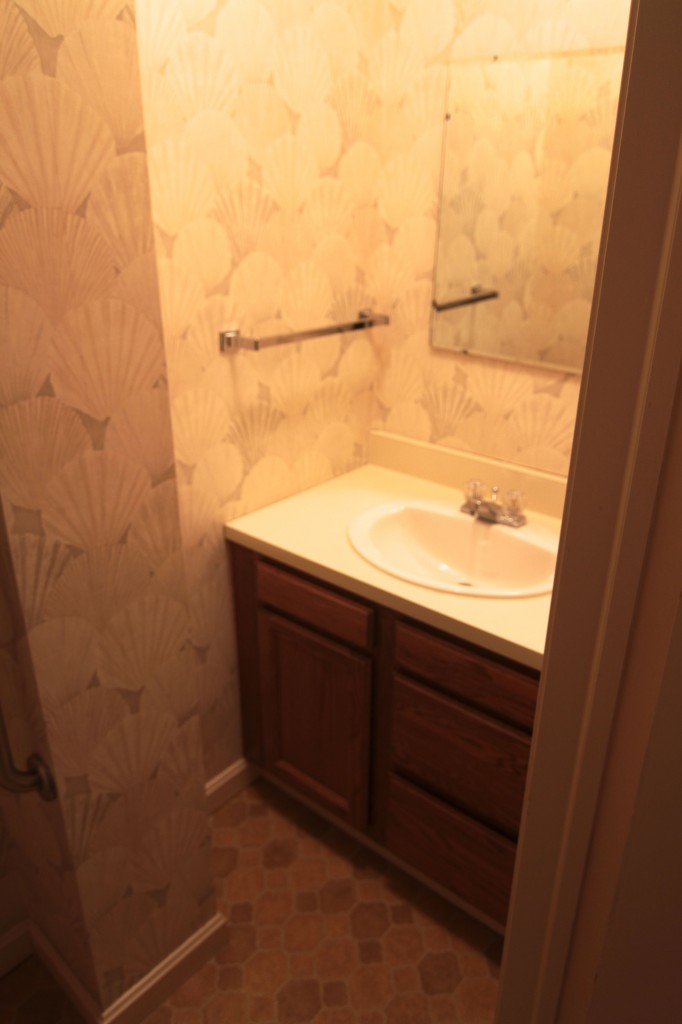 BEFORE: This powder room is basic, but it needn't be so ugly.