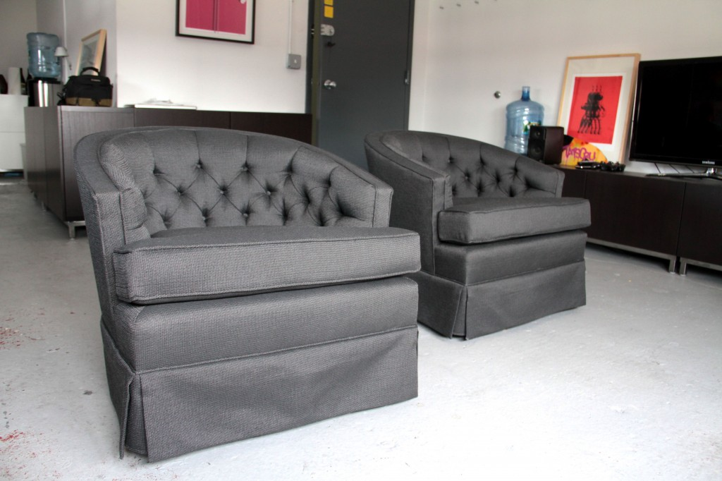 AFTER: Rebuilt foam, hand-tufted, swivel capabilities still intact. These chairs will contribute to many an hour of video game battles, design discussions, and hopefully, meeting with new clients.