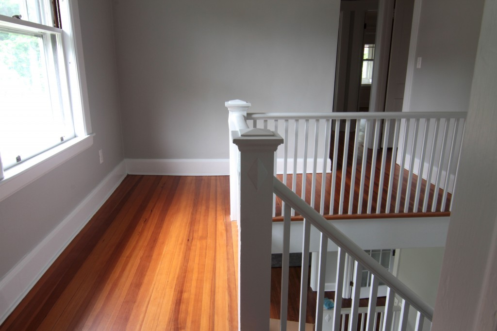Last look: upstairs landing. Good bye creaky long walk to the bedroom. Good bye hand painted balustrade.
