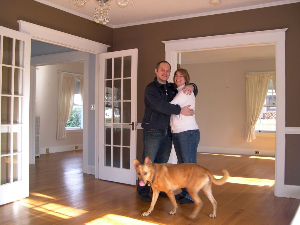 BEFORE: Us, in December 2007, when we first moved into the house.