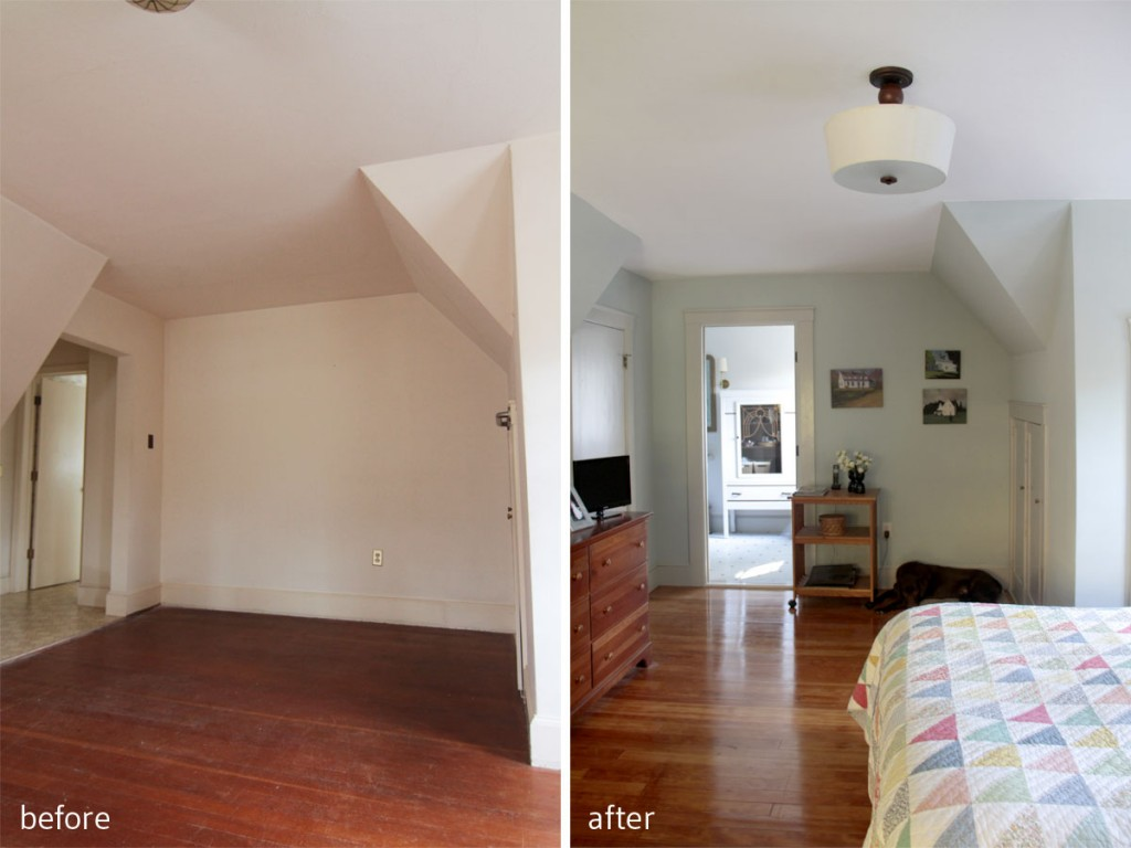 BEFORE: You had to walk underneath that eave to get into the master bathroom. AFTER: We repositioned the entrance to the bathroom, converted the awkward former entry into a large closet, while maintaining a period-appropriate vibe.