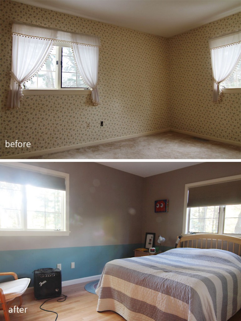 BEFORE: He was none too pleased with the floral wallpaper, dainty curtains, and carpeted floor. AFTER: New wood floors, paint, and a few blackout shades (completely necessary for teenagers) make this space ready to grow along with him.