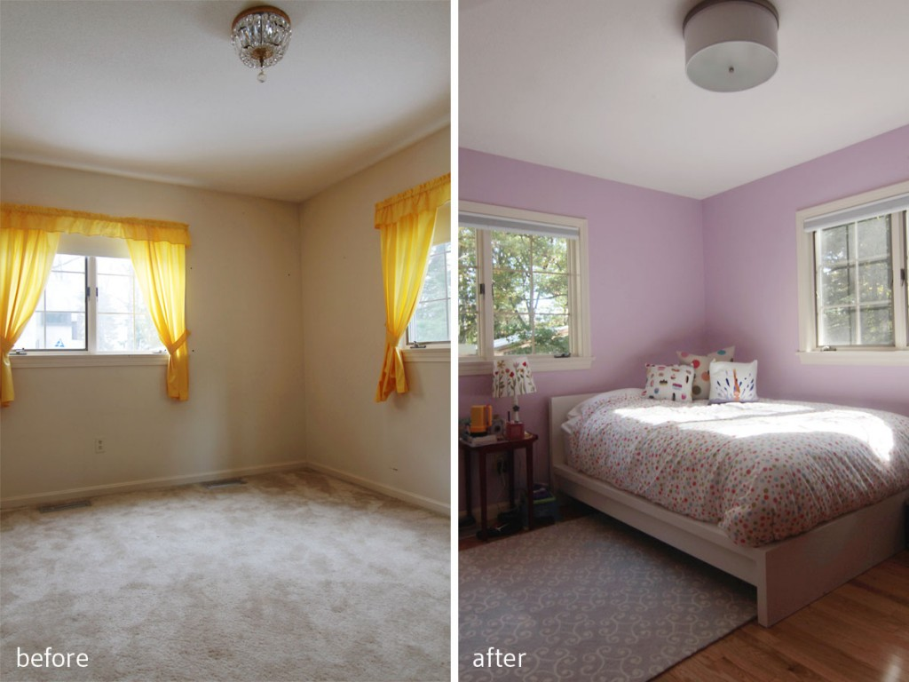 BEFORE: She wasn't at all happy with the carpeting, or the yellow drapes, but she loved the light (she claimed her room first). AFTER: Her love of purples, plus light, gave us a starting point for a girly but sophisticated space.