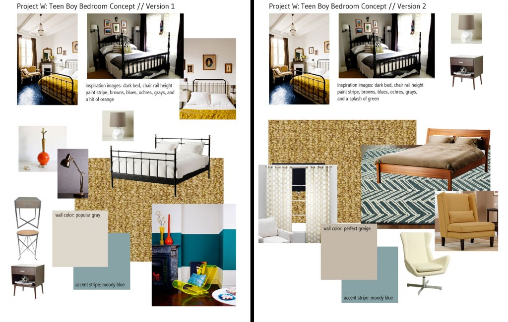 Initially our budget called for replacing the wall-to-wall carpeting with more carpeting, but the clients decided to splurge on hardwood flooring. I tried to offer some options for what might suit a man-to-be in version 1, and adjusted my notions for a more specific young man in version 2.