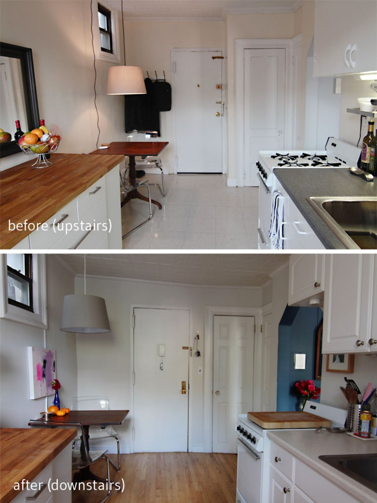 BEFORE: Upstairs, in the Pied à Terre, the entry door was in a different position. AFTER: Downstairs, in the Pied à Deux, we had to get creative to fit our dining area, our cabinets, and meet our pantry storage needs.
