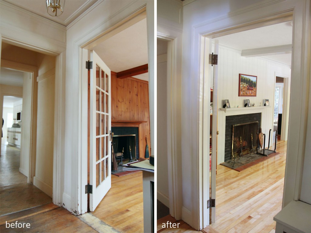 BEFORE: Flooring was in rough shape, original knotty pine panelling, pretty dated feel. AFTER: Brightened up paneling in Repose Gray, refinished flooring, new tile, updated entry.