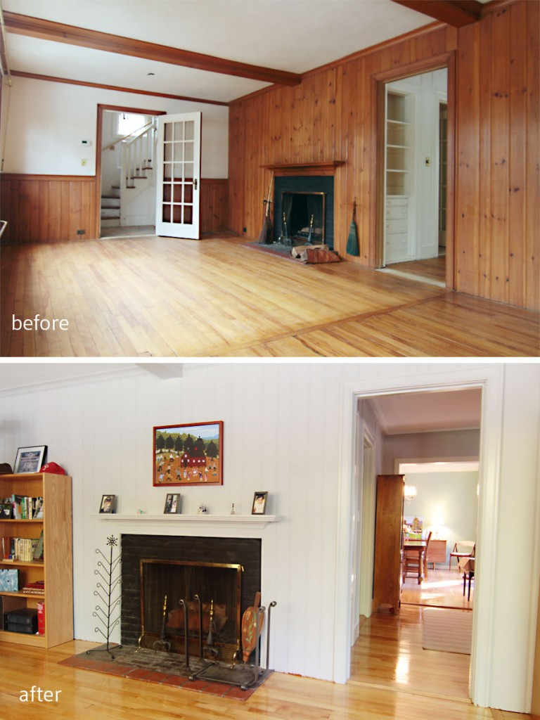 BEFORE: This room was the formal living space once upon a time. AFTER: Now a cozy office and library, the Ws can tuck in with a fire, a sip of adult elixir, and enjoy the reinvented space.