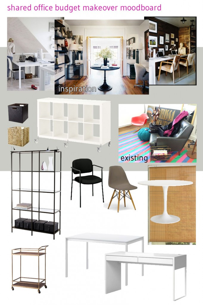 Inspiration via Pinterest (see board: dual office), and via IKEA, Target, and Overstock.