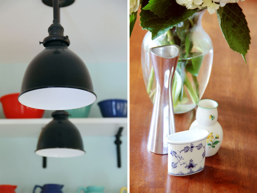 Beauty shots: left, Schoolhouse lights; right, family treasures on easy display in the dining room.