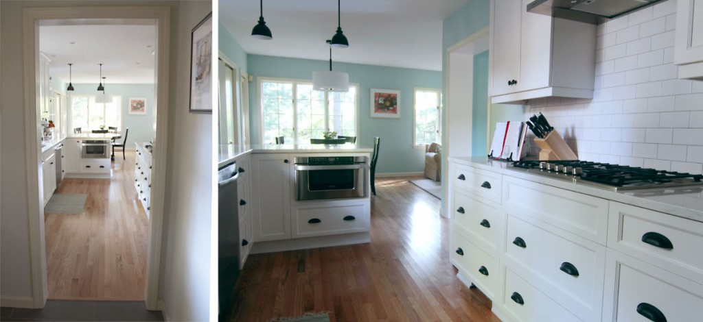 Left, view to the bright kitchen and family space; right, cooking zone on the right, baking zone on the peninsula.