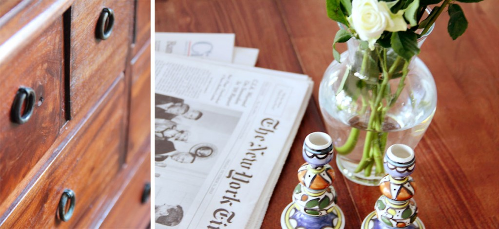 Beauty shots: left, vintage cabinet; right, breakfast ritual, old school style.